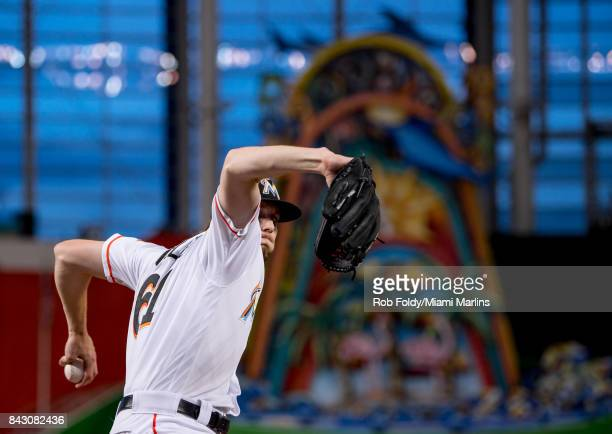Adam Conley of the Miami Marlins pitches before the game against the Washington Nationals at Marlins Park on September 4 2017 in Miami Florida