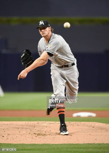 Adam Conley of the Miami Marlins pitches during a baseball game against the San Diego Padres at PETCO Park on April 21 2017 in San Diego California