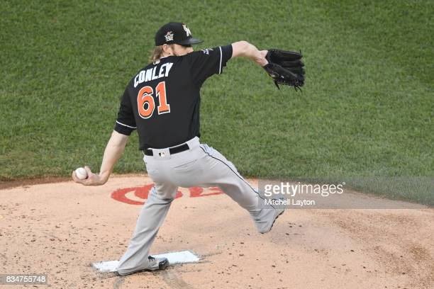 Adam Conley of the Miami Marlins pitches during a baseball game against the Washington Nationals at Nationals Park on August 9 2017 in Washington DC...