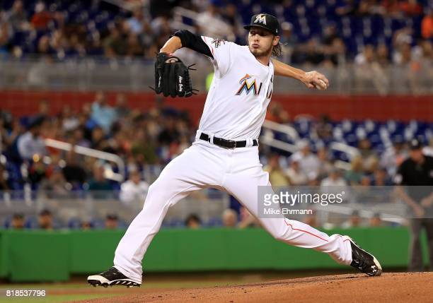 Adam Conley of the Miami Marlins pitches during a game against the Philadelphia Phillies at Marlins Park on July 18 2017 in Miami Florida