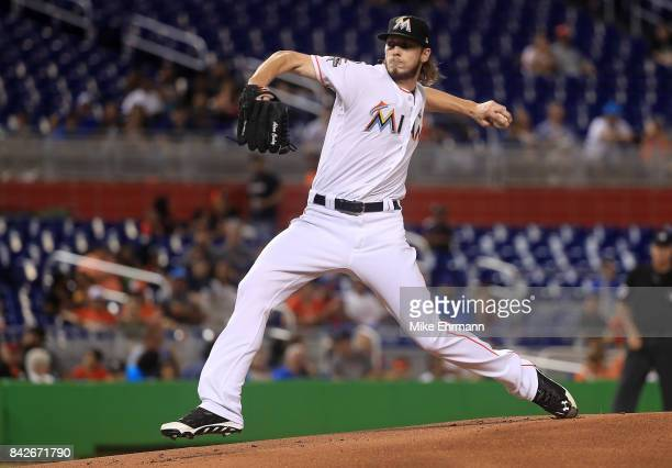Adam Conley of the Miami Marlins pitches during a game against the Washington Nationals at Marlins Park on September 4 2017 in Miami Florida
