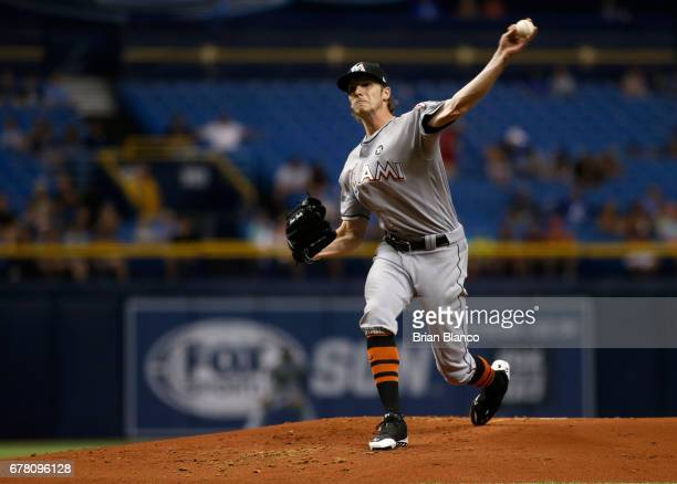 Adam Conley of the Miami Marlins pitches during the first inning of a game against the Tampa Bay Rays on May 3 2017 at Tropicana Field in St...