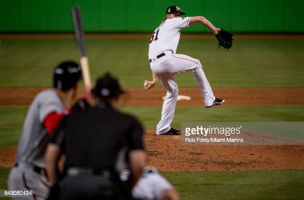 Adam Conley of the Miami Marlins pitches during the game against the Washington Nationals at Marlins Park on September 4 2017 in Miami Florida