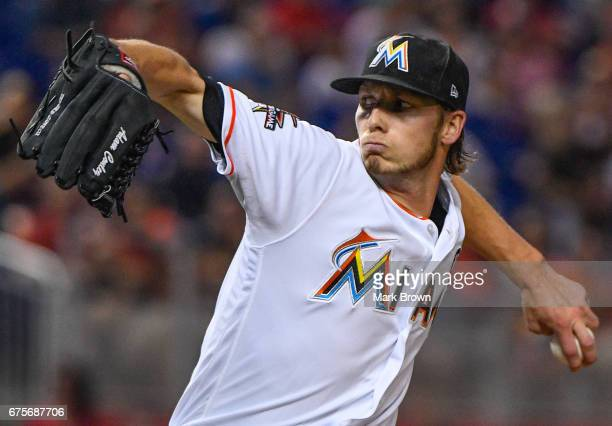 Adam Conley of the Miami Marlins pitches during the game between the Miami Marlins and the Pittsburgh Pirates at Marlins Park on April 28 2017 in...