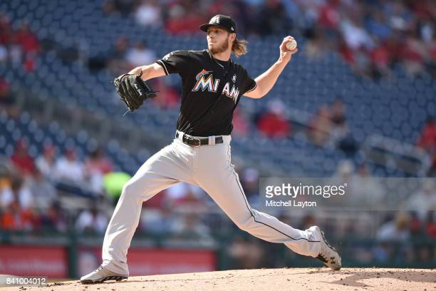 Adam Conley of the Miami Marlins pitches in the first inning during a baseball game against the Washington Nationals at Nationals Park on August 30...