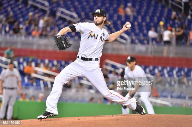 Adam Conley of the Miami Marlins throws a pitch during the first inning against the San Francisco Giants at Marlins Park on August 14 2017 in Miami...