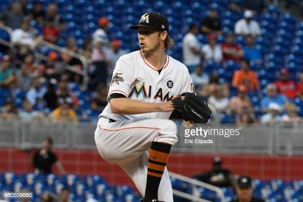 Adam Conley of the Miami Marlins throws a pitch during the second inning against the St Louis Cardinals at Marlins Park on May 8 2017 in Miami Florida