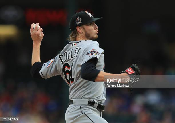 Adam Conley of the Miami Marlins throws against the Texas Rangers in the second inning at Globe Life Park in Arlington on July 24 2017 in Arlington...