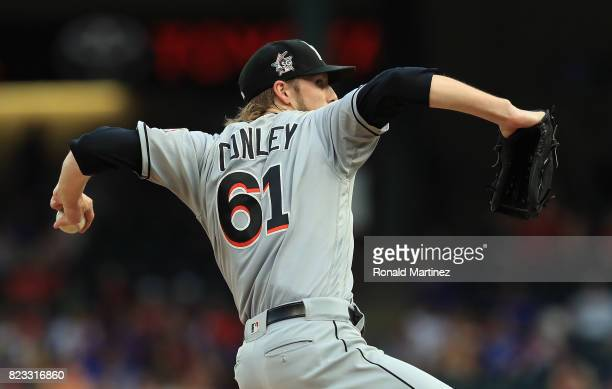Adam Conley of the Miami Marlins throws against the Texas Rangers in the first inning at Globe Life Park in Arlington on July 24 2017 in Arlington...