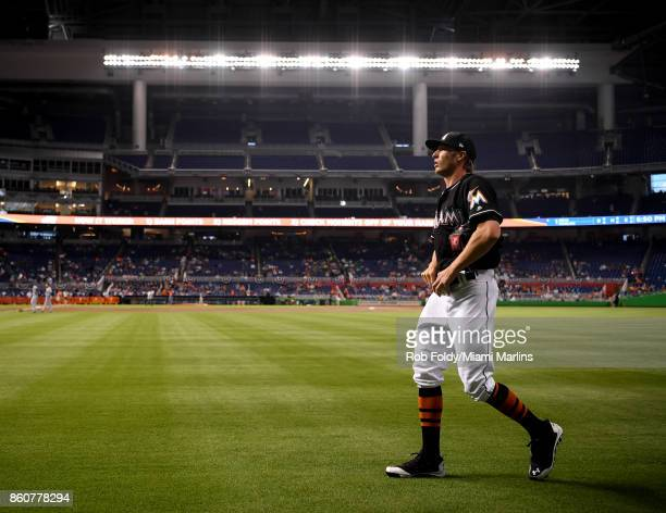 Adam Conley of the Miami Marlins walks on the field before the game against the New York Mets at Marlins Park on April 15 2017 in Miami Florida