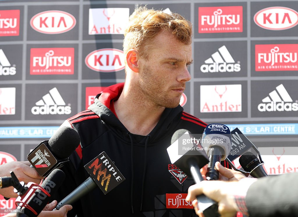<a gi-track='captionPersonalityLinkClicked' href=/galleries/search?phrase=Adam+Cooney&family=editorial&specificpeople=208786 ng-click='$event.stopPropagation()'>Adam Cooney</a> of the Bombers speaks to the media during a press conference after the Essendon Bombers AFL training session at True Value Solar Centre on May 4, 2016 in Melbourne, Australia.