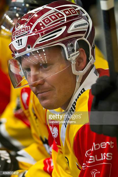 Adam Courchaine of Krefeld Pinguine during the Champions Hockey League group stage game between Sonderjyske Vojens and Krefeld Pinguine on October 7...