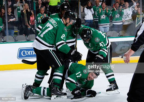 Adam Cracknell Devin Shore Johnny Oduya Jordie Benn of the Dallas Stars celebrate a goal against the Anaheim Ducks at the American Airlines Center on...