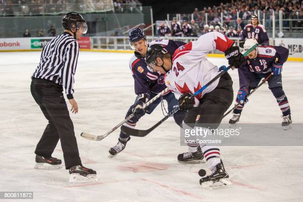 Adam Cracknell of Team Canada clears the puck during the Melbourne Game of the Ice Hockey Classic on June 24 2017 held at Hisence Arena Melbourne...