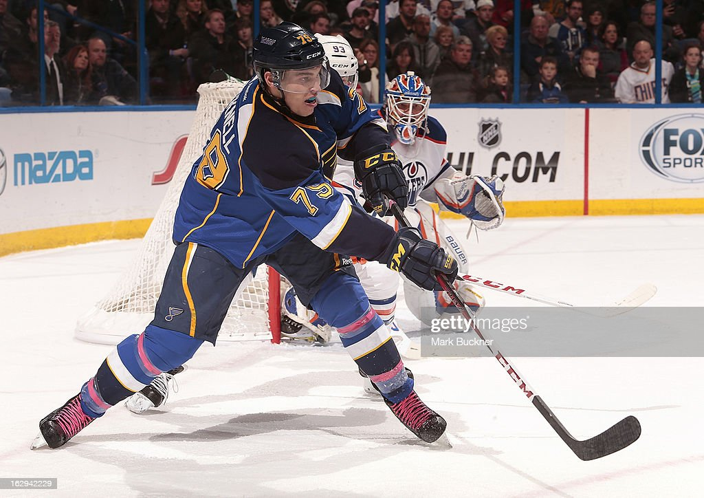 <a gi-track='captionPersonalityLinkClicked' href=/galleries/search?phrase=Adam+Cracknell&family=editorial&specificpeople=2221797 ng-click='$event.stopPropagation()'>Adam Cracknell</a> #79 of the St. Louis Blues skates against the Edmonton Oilers in an NHL game on March 1, 2013 at Scottrade Center in St. Louis, Missouri.