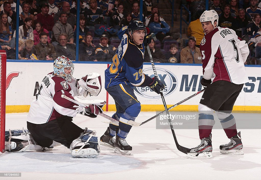 <a gi-track='captionPersonalityLinkClicked' href=/galleries/search?phrase=Adam+Cracknell&family=editorial&specificpeople=2221797 ng-click='$event.stopPropagation()'>Adam Cracknell</a> #79 of the St. Louis Blues takes up position between goalie <a gi-track='captionPersonalityLinkClicked' href=/galleries/search?phrase=Semyon+Varlamov&family=editorial&specificpeople=6264893 ng-click='$event.stopPropagation()'>Semyon Varlamov</a> #1 and <a gi-track='captionPersonalityLinkClicked' href=/galleries/search?phrase=Shane+O%27Brien&family=editorial&specificpeople=2190942 ng-click='$event.stopPropagation()'>Shane O'Brien</a> #5 of the Colorado Avalanche in an NHL game on April 23, 2013 at Scottrade Center in St. Louis, Missouri.