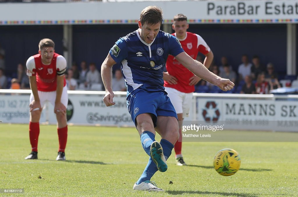 Adam Cunnington of Billericay Town scores from the penalty spot during The Emirates FA Cup Qualifying First Round match between Billericay Town and Didcot Town on September 2, 2017 in Billericay, England.