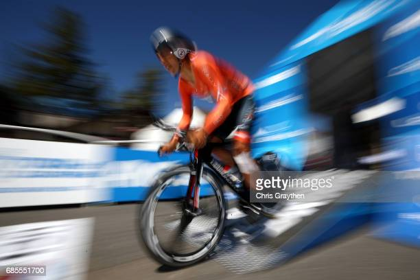 Adam De Vos of Canada riding for Rally Cycling rides during stage five of the AMGEN Tour of California from Ontario to Mt Baldy on May 18 2017 in...
