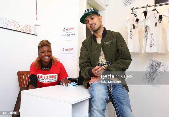 Adam Deacon and Kealy Hatsick attend a photocall to launch the new popup shop by Kealy from Channel 4's 'Battlefront' reality TV show on September 4...