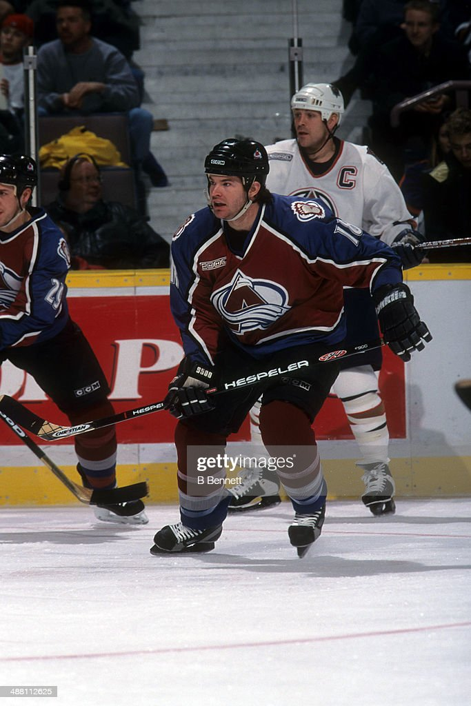 Adam Deadmarsh of the Colorado Avalanche skates on the ice during an NHL game against the Edmonton Oilers on December 1 1999 at the Rexall Place in...