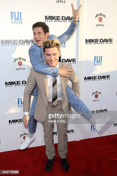 Adam Devine and Zac Efron attend the 'Mike and Dave Need Wedding Dates' premiere at ArcLight Cinemas Cinerama Dome on June 29 2016 in Hollywood...
