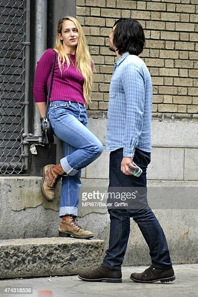 Adam Driver and Jemima Kirke on the set of HBO's Girls on May 21 2015 in New York City
