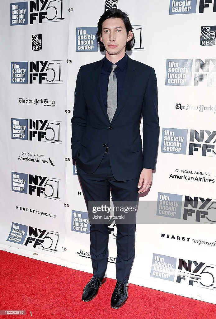 Adam Driver attends the 'Inside Lleywn Davis' permiere during the 51st New York Film Festival at Alice Tully Hall at Lincoln Center on September 28...