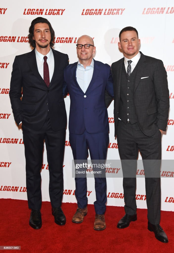 Adam Driver, director Steven Soderbergh and Channing Tatum attend the 'Logan Lucky' UK Premiere at Vue West End on August 21, 2017 in London, England.