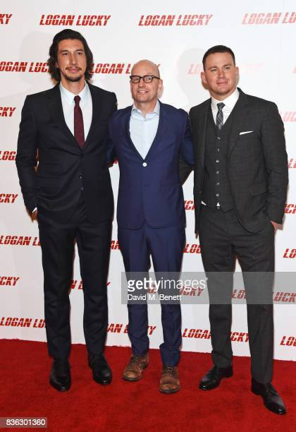 Adam Driver director Steven Soderbergh and Channing Tatum attend the 'Logan Lucky' UK Premiere at Vue West End on August 21 2017 in London England