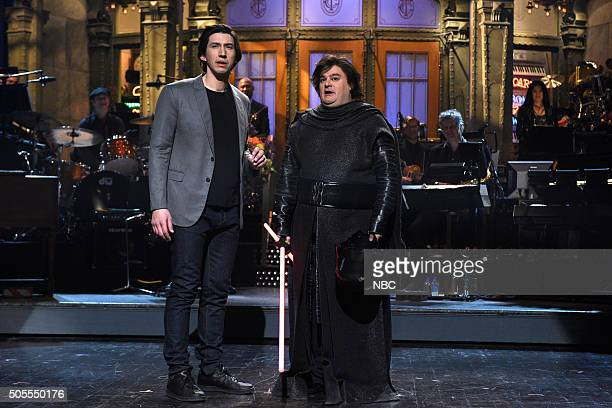 LIVE 'Adam Driver' Episode 1693 Pictured Adam Driver and Bobby Moynihan during the monologue on January 16 2016