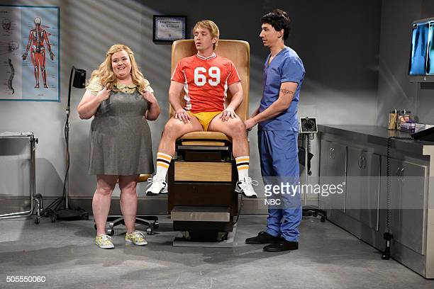 LIVE 'Adam Driver' Episode 1693 Pictured Aidy Bryant Beck Bennett and Adam Driver as Dr Rockhard during the 'Porn Doctor' sketch on January 16 2016