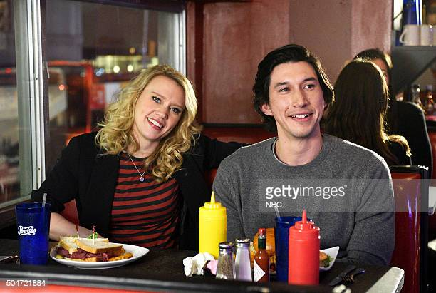 LIVE 'Adam Driver' Episode 1693 Pictured Kate McKinnon and Adam Driver on January 12 2016