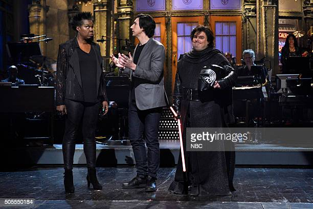 LIVE 'Adam Driver' Episode 1693 Pictured Leslie Jones Adam Driver and Bobby Moynihan during the monologue on January 16 2016