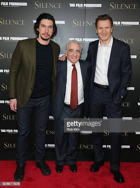 Adam Driver Martin Scorsese and Liam Neeson attend the New York Screening of 'Silence' at Regal EWalk Theater on December 8 2016 in New York City