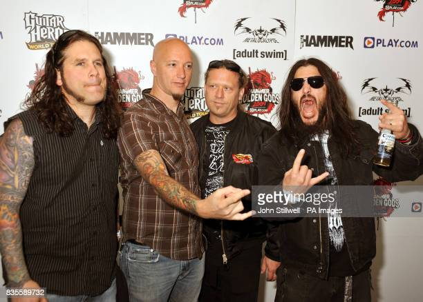 Adam Duce Dave McClain Phil Demmel and Robb Flynn of Machine Head arrive at the Indigo concert venue for the Metal Hammer Golden Gods awards at the...