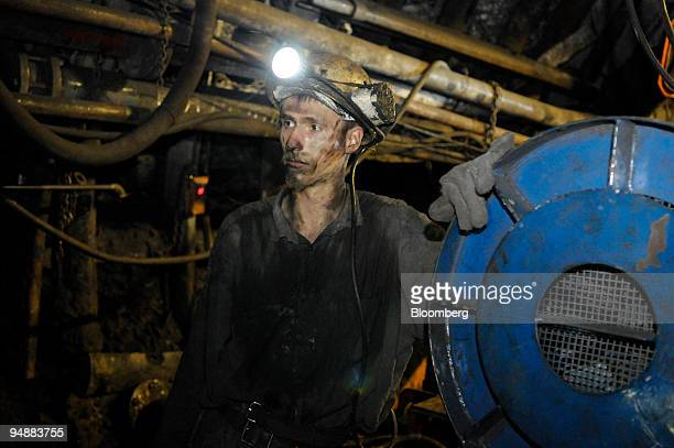 Adam Dudzina a miner stands at the shaft of the Paskov coal mine owned by OKD AS in Staric Czech Republic on Thursday June 26 2008 OKD is the Czech...