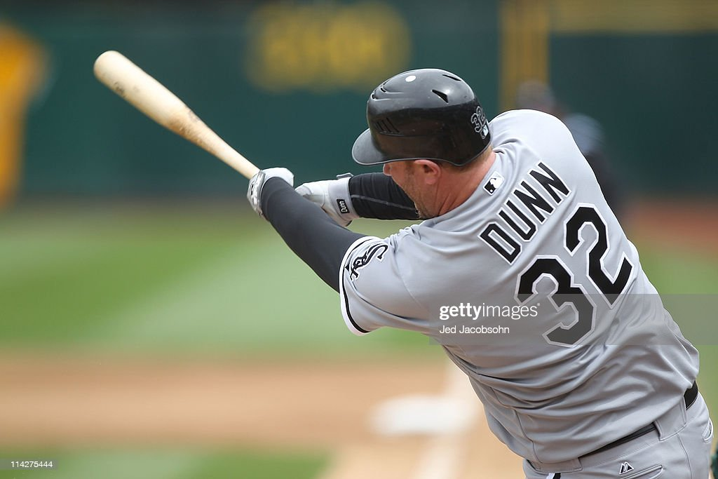 <a gi-track='captionPersonalityLinkClicked' href=/galleries/search?phrase=Adam+Dunn&family=editorial&specificpeople=213505 ng-click='$event.stopPropagation()'>Adam Dunn</a> #32 of the Chicago White Sox bats against the Oakland Athletics during a Major League Baseball game at the Oakland-Alameda County Coliseum on May 14, 2011 in Oakland, California.