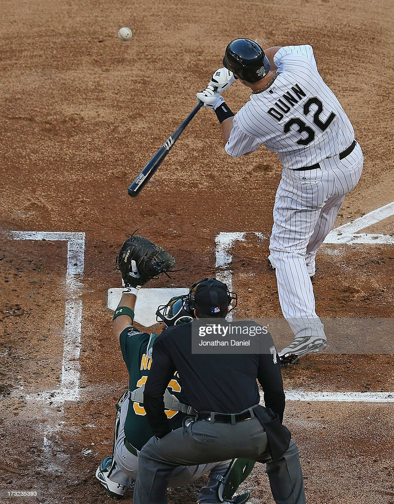 <a gi-track='captionPersonalityLinkClicked' href=/galleries/search?phrase=Adam+Dunn&family=editorial&specificpeople=213505 ng-click='$event.stopPropagation()'>Adam Dunn</a> #32 of the Chicago White Sox bats against the Oakland Athletics at U.S. Cellular Field on June 7, 2013 in Chicago, Illinois. The Athletics defeated the White Sox 4-3.