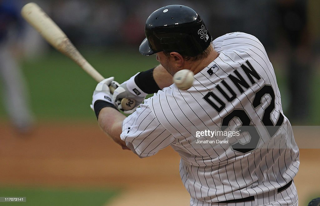 <a gi-track='captionPersonalityLinkClicked' href=/galleries/search?phrase=Adam+Dunn&family=editorial&specificpeople=213505 ng-click='$event.stopPropagation()'>Adam Dunn</a> #32 of the Chicago White Sox fouls off a pitch against the Chicago Cubs at U.S. Cellular Field on June 20, 2011 in Chicago, Illinois. The Cubs defeated the White Sox 6-3.