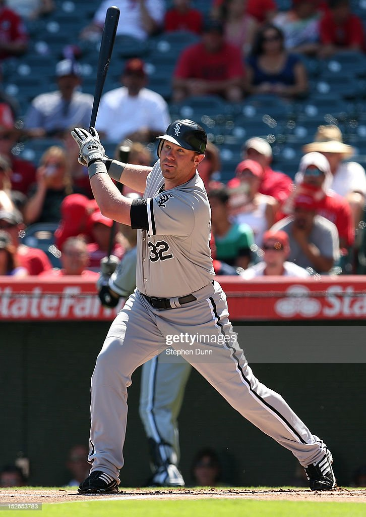 <a gi-track='captionPersonalityLinkClicked' href=/galleries/search?phrase=Adam+Dunn&family=editorial&specificpeople=213505 ng-click='$event.stopPropagation()'>Adam Dunn</a> #32 of the Chicago White Sox hits a double to left field in the first inning against the Los Angeles Angels of Anaheim at Angel Stadium of Anaheim on September 23, 2012 in Anaheim, California. The Angels won 4-1.