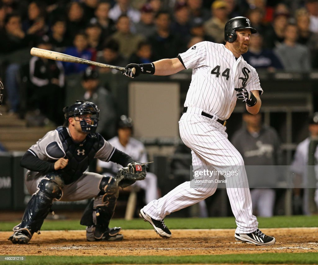 Adam Dunn #44 of the Chicago White Sox hits a run-scoring single in the 8th inning against the New York Yankees at U.S. Cellular Field on May 22, 2014 in Chicago, Illinois. The White Sox defeated the Yankees 3-2.