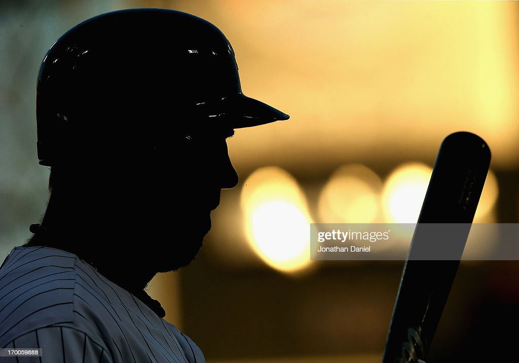 <a gi-track='captionPersonalityLinkClicked' href=/galleries/search?phrase=Adam+Dunn&family=editorial&specificpeople=213505 ng-click='$event.stopPropagation()'>Adam Dunn</a> #32 of the Chicago White Sox prepares to bat against Oakland Athletics at U.S. Cellular Field on June 6, 2013 in Chicago, Illinois.