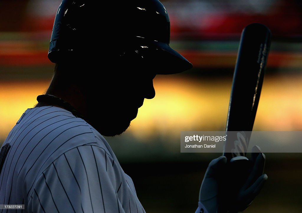 <a gi-track='captionPersonalityLinkClicked' href=/galleries/search?phrase=Adam+Dunn&family=editorial&specificpeople=213505 ng-click='$event.stopPropagation()'>Adam Dunn</a> #32 of the Chicago White Sox prepares to bat against the Oakland Athletics at U.S. Cellular Field on June 6, 2013 in Chicago, Illinois. The Athletics defeated the White Sox 5-4 in 10 innings.