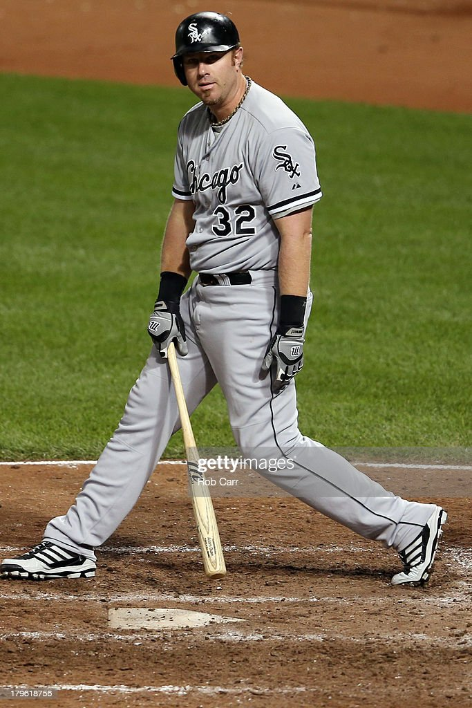 <a gi-track='captionPersonalityLinkClicked' href=/galleries/search?phrase=Adam+Dunn&family=editorial&specificpeople=213505 ng-click='$event.stopPropagation()'>Adam Dunn</a> #32 of the Chicago White Sox reacts after striking out for the second out of the ninth inning during the White Sox 3-1 loss to the Baltimore Orioles at Oriole Park at Camden Yards on September 5, 2013 in Baltimore, Maryland.
