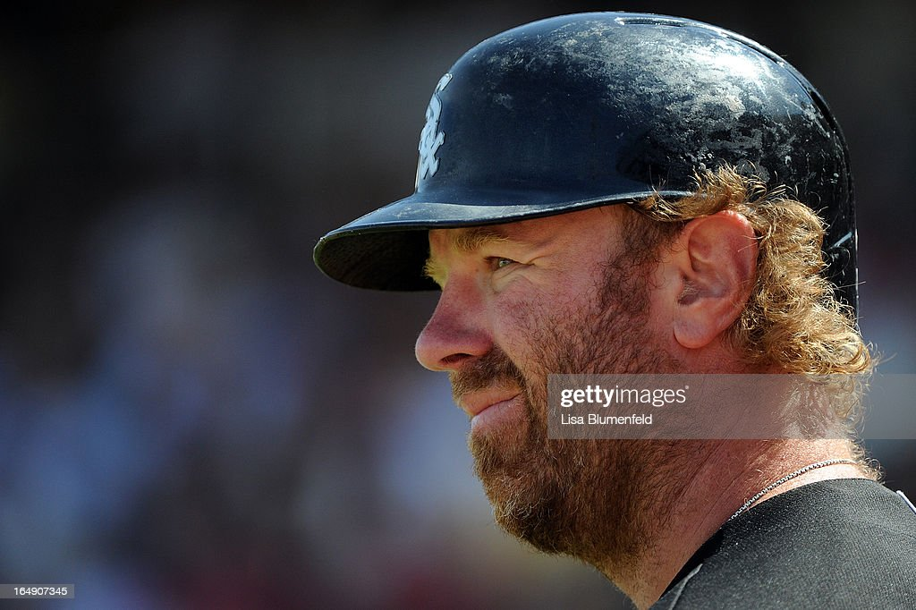 Adam Dunn #32 of the Chicago White Sox waits on deck during the game against the Texas Rangers at Surprise Stadium on March 26, 2013 in Surprise, Arizona.