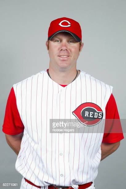 Adam Dunn of the Cincinnati Reds poses for a portrait during photo day at Ed Smith Stadium on February 24 2005 in Sarasota Florida