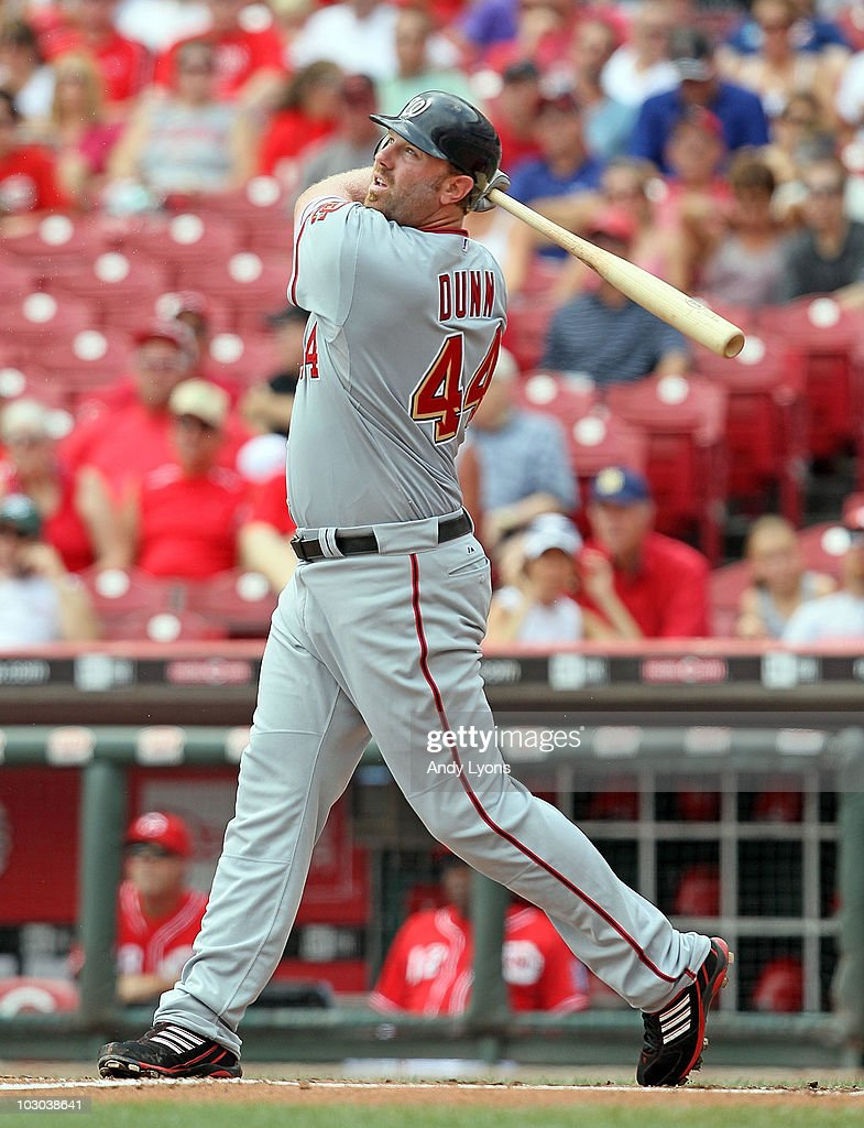 <a gi-track='captionPersonalityLinkClicked' href=/galleries/search?phrase=Adam+Dunn&family=editorial&specificpeople=213505 ng-click='$event.stopPropagation()'>Adam Dunn</a> #44 of the Washington Nationals hits a home run during the game against the Cincinnati Reds at Great American Ball Park on July 22, 2010 in Cincinnati, Ohio.