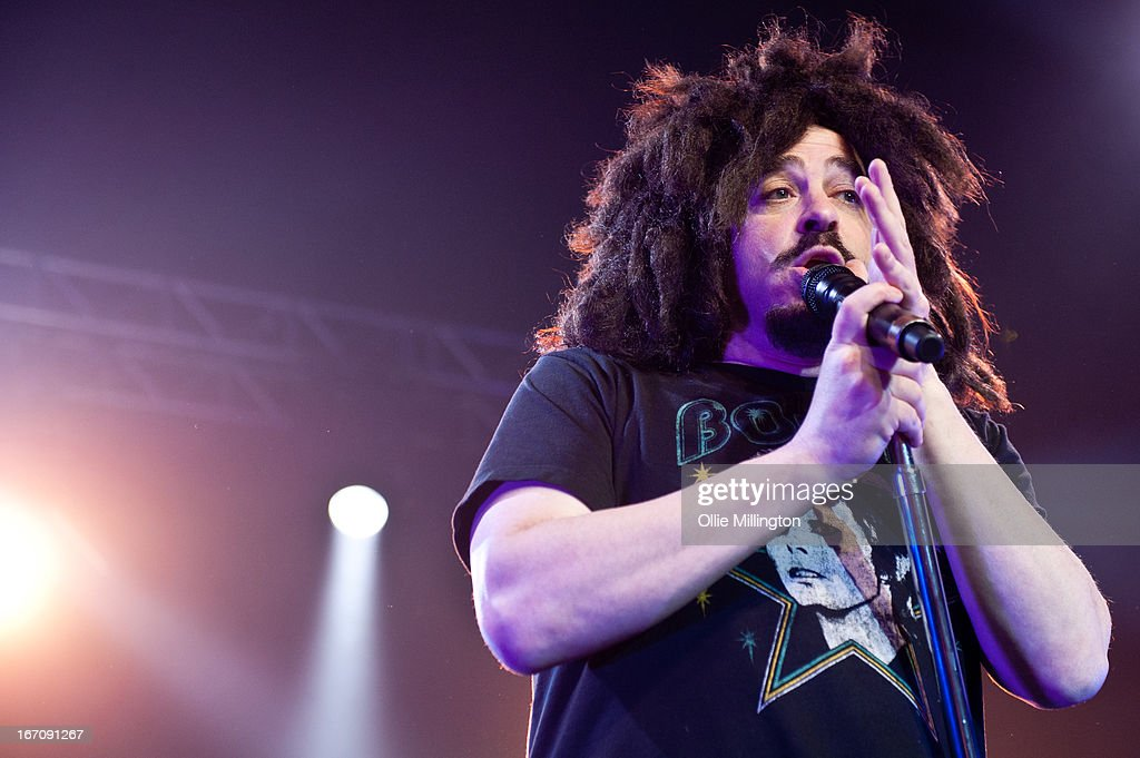 <a gi-track='captionPersonalityLinkClicked' href=/galleries/search?phrase=Adam+Duritz&family=editorial&specificpeople=207121 ng-click='$event.stopPropagation()'>Adam Duritz</a> of Counting Crows performs onstage during the opening night of the bands UK April 2013 tour, their first time in the UK in 4 years. at 02 academy on April 19, 2013 in Birmingham, England.