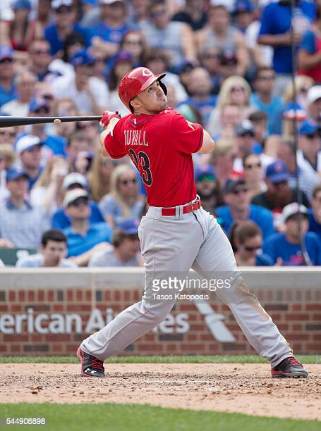 Adam Duvall Cincinnati Reds at bat against the Chicago Cubs at Wrigley Field on July 4 2016 in Chicago Illinois