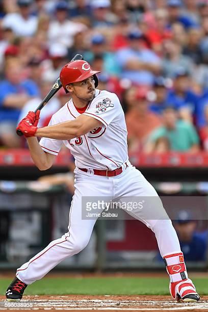 Adam Duvall of the Cincinnati Reds bats against the Los Angeles Dodgers at Great American Ball Park on August 20 2016 in Cincinnati Ohio